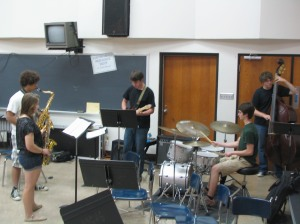 Jazz band practices for Jazz Festival.