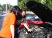 Frank Mandernach, automotive instructor, and Serenity Barron, junior