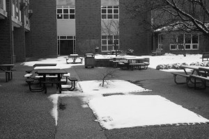 A few inches of snow lie in the courtyard after the St. Louis areas' first and only snow this far. (Photo by Kevin Killeen)