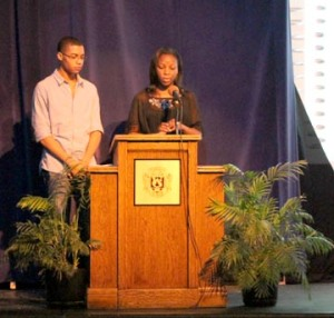 Seniors Kyman Caviness and Nubari Kanee give a speech at a Webster Challenge Celebration on Jan. 23, in the auditorium.(Photo by Cristina Vasquez-Muniz)