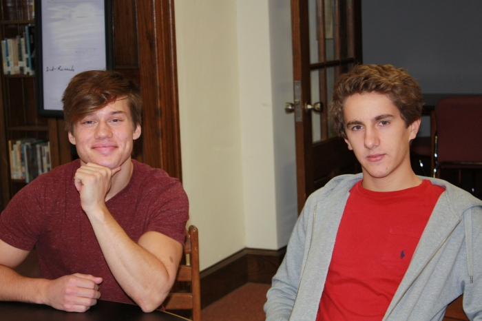 Seniors Sal Mancuso and Daniele Olmeda sit in the library on Aug. 28. Mancuso has an Italian heritage, and Olmeda is from Italy. (Photo by Brittany Patton)