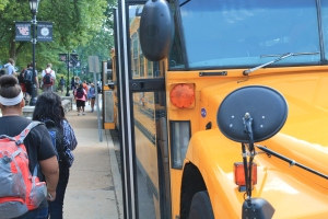 The buses arrive outside the high school in the afternoon to take students home. Riverview Gardens offers busing to the Mehlville and Kirkwood School Districts, and Normandy offers busing to Francis Howell School Disctrict. Transfer students who go to Webster must provide their own transportation.