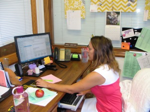 Counselor Nichole Anastasio works in her office.  (Photo by Andy Kimball)