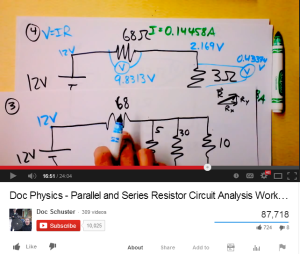 Physics teacher David Schuster's most popular video has over 85,000 views. This picture shows what an average Doc Physics video looks like: a paper, some markers and his hands.