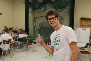 Senior Sam Short wants to keep Vermont weird while drinking some apple juice in the all purpose room. (Photo by Jack Killeen)