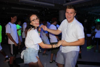Students enjoy the student council-sponsored Back in Black Dance Aug. 22, in the cafeteria. (Photos by Bret Waelterman)