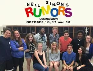 "Photo Todd Schaefer The ""Rumors,"" cast members are  sophomore Jacob Noce junior Kate Arendes, senior Emily Jackoway, senior Edward Flynn, senior Joey Azar, senior Jonah Schnell, senior Dennis Allen, senior Natalie Cohen, junior Lily Newsham, sophomore Heather Leatherbarrow,  junior Justin Comegys, and junior Annelise Kerr-Grant. ""Rumors"" was presented on Oct. 16, 17, and 18."