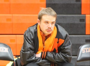 Photo by Bret Waelterman Gus McLean watches the opening game at Webster Groves High School Dec. 11.