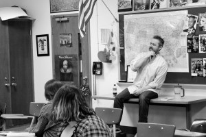 English teacher Steve Leftridge addresses a freshman class on Jan. 20. He selected the writers to showcase in the upcoming writers week. Photo by Alex Ring.