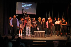 fter the Black History Showcase, performers come on stage. They met with students in library for dialogue about their performances. The showcase was presented to periods two and three on Feb. 24, and again at 7 p.m. on Feb. 27. Photo by Bret Waelterman