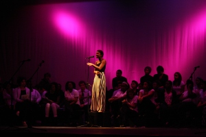 Senior Nia-Michelle Walker performs at last year's Martin Luther King assembly, which was presented to the entire student body. Photo by Willie Zempel