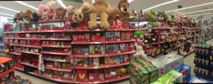 Stacks of Valentine's candy, cards and stuffed animals are overflowing at the Walgreens on Manchester. Photo by Riley Mullgardt