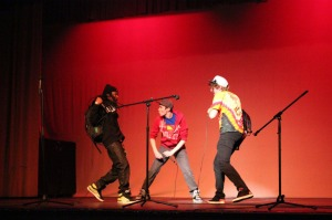 Senior Marquis Houston, Alumnus Chris Frey and senior Wes Ragland perform at the 2014 WGHS Talent Show on March 26, at 7 p.m. in the Jerry R. Knight Auditorium.   Photo by Donald Johnson