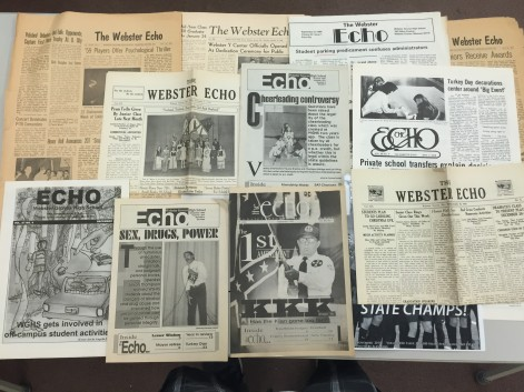 ECHO is celebrating its 100th year anniversary. Archives of the ECHO can be found in the library, and  lots of old ECHOs have been stored in room 155. Throughout its years, the ECHO has changed looks, styles and types, but it has always stayed consistent to bring Webster Groves High School the news. (Photo by Willie Zempel)