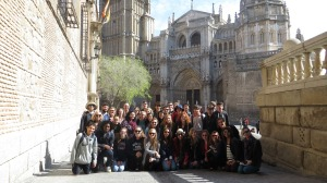 Students sit in front of the Toledo Cathedral in Toledo, Spain. 37 students went on the trip to various cities in Spain and the country of Morocco.
