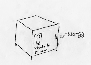 With $30 any third party can access students' directory information, which includes street address and email. (Cartoon by Jack Killeen).