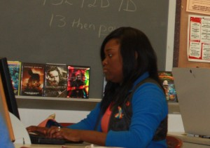 Senior Brittany Patton diligently checks her E-mail during ECHO class.  Photo by DeAndre Scott