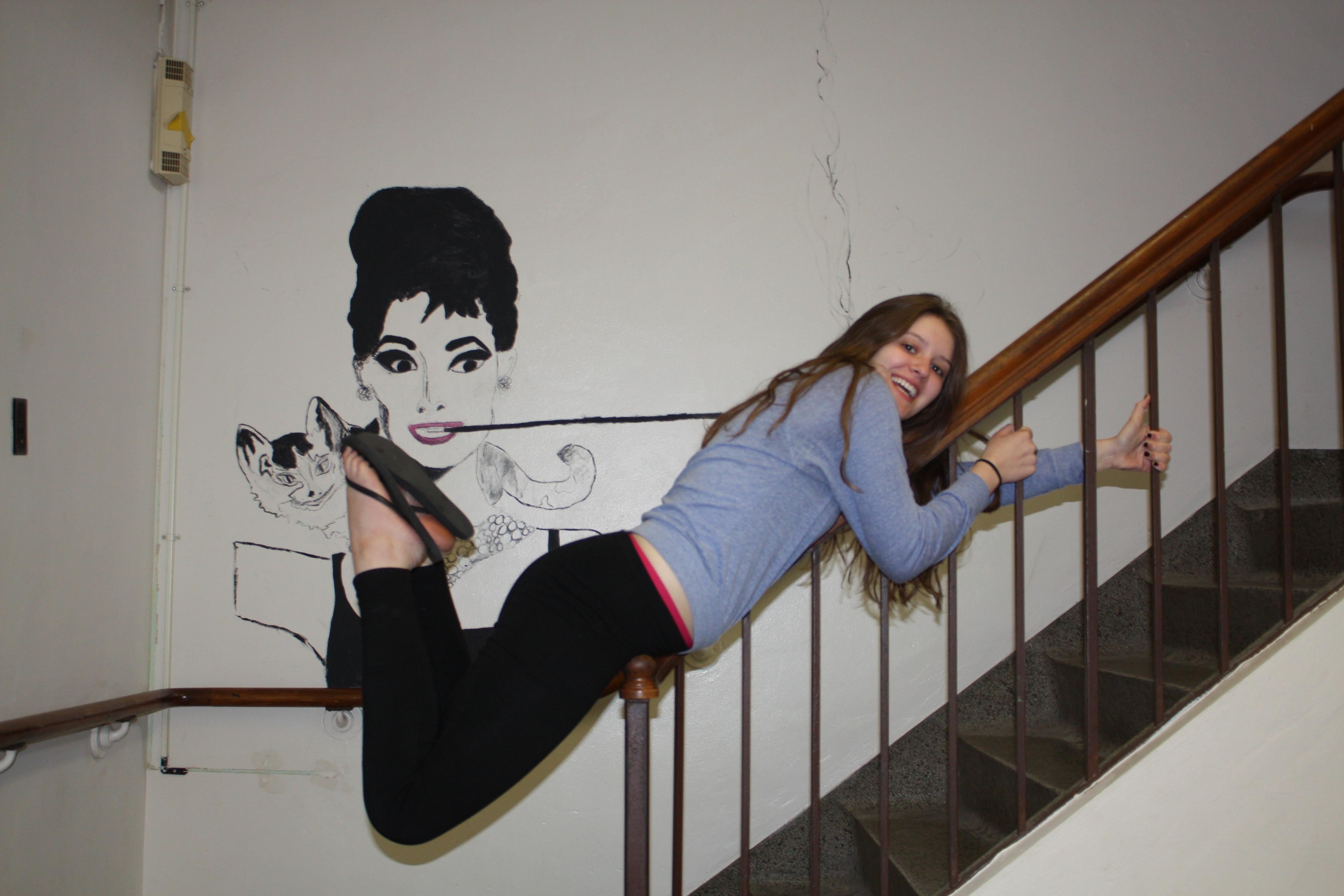Senior Rachel Reilly Chills On A Stair Case Near The Little Theater Next To  Actress And