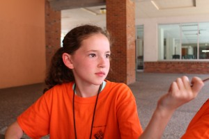 Isabella Stewart prepares to take notes at journalism camp July 14. Photo taken by Kolby Cunningham