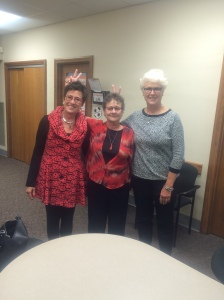 Donna Ziegenhorn, Patty Cahill and Sue Hack visit the high school Oct 3, for their 1965 graduation reunion and tour. Photo by Tyler Coleman
