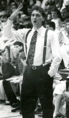 Dr. Jon Clark coaching at Rolla High School. Photo from Alumni Office Archives.