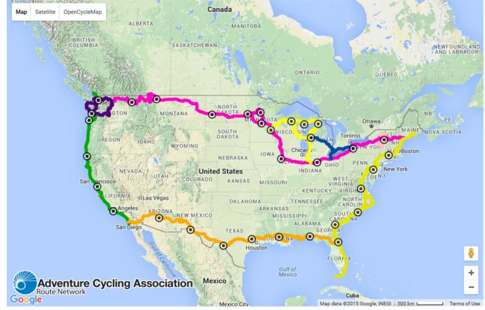 Project Daedalus plans to cycle around the entire United States in one year using these routes. They started in Houston, TX, and plan on finishing in January of 2017, travelling a total of 6,500 miles. Map from Adventure Cycling Association