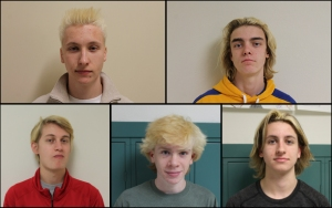 Going for Gold; hockey players Senior Tyler Westermayer, Junior Alek Potocnjak, Junior Will Newhouse, Freshman Casey Lang and Freshman Eaton Gowan bleach hair gold. Photo by Cole Schnell.