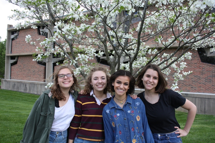"Photo by Irene Ryan Friends Annie Bryan, Jenny Perkowski, Gianna Metzger and Bekah Perman ""live"" and enjoy the outdoors at their favorite place to hang out, Eden Seminary."