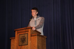 Speaker Mitchell Paulson auditions before his peers on April 5. Photo by Lee Drake
