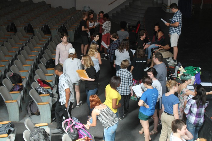 """Students prepare for the callbacks for the fall musical """"Disney's The Little Mermaid"""" on Thursday. The final cast was announced Friday afternoon. Photo by Caroline Fellows"""