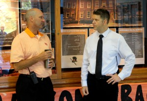 Administrative intern Dr. Greg Fick talks to principal Dr. Jon Clark at the beginning of school. Photo by Cole Schnell