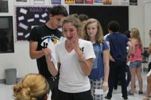Junior Gabriella Romano auditions on Friday, Aug. 26 for the student directed and produced Fall One Act Festival. The show will be Wednesday, Sept. 28 at 7 p.m in the auditorium. Photo by Riley Mullgardt