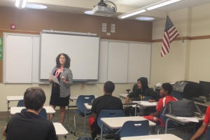 Colleen Flickinger is seen teaching students in Room 296. Photo by Sean Mullins