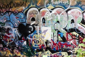 Graffiti artists have decorated underneath a Deer Creek Bridge. Photo by Rosa Parks