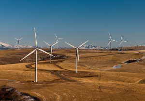 Wind turbines provide energy on the Power County Wind Farm in Power County, Idaho.