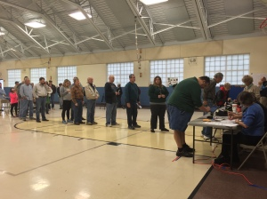 Webster Groves residents line up at their polling place and wait to vote. Donald Trump won the electoral votes from Missouri. Photo by Caleb Bolin