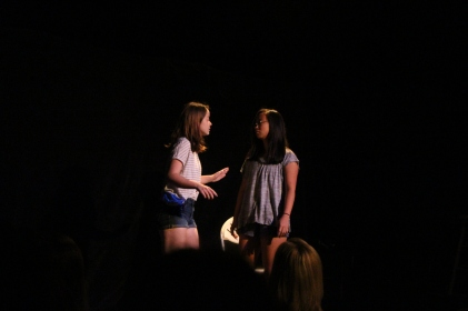 Juniors Sydney Ciamarolli and Sophie Weik perform in the fall One Act Festival on Sept. 28. Photo by Donald Johnson