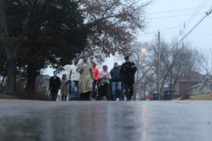 Citizens walk down Euclid Avenue during the Martin Luther King Jr. march. Photo by Ashli Wagner.