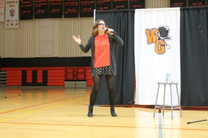 Comedian Sara Schaefer tells one of her stories in Roberts Gym as part of last year's All Write Festival. Photo by Cole Schnell