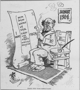 Skepticism about New Year's Resolutions is timeless as shown in this political cartoon by Bob Satterfield published in a 1904 issue of Tacoma Times. Public domain photo from Wikimedia Commons.
