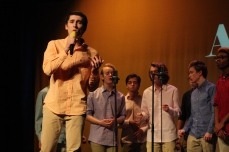 "Senior Isaac Collins sings a solo in ""The Man Who Can't Be Moved"" by The Script. Photo by Caroline Fellows"