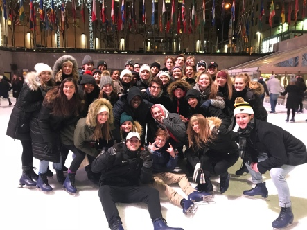 "Marketing II students gather for their final photo in the big apple at Rockefeller Center. ""It was such an amazing trip. By the end of the trip we were all sad to leave, but so excited for what the future held for us,"" senior Allee Clendennen said. Photo by Karen Verstraete"