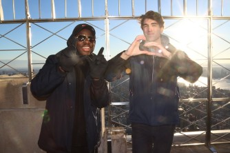 Seniors Marcus Thompson and Brian O'Laughlin represent WG by making the letters with their fingers on top of the Empire State Building. Photo by Kaelin Dooley