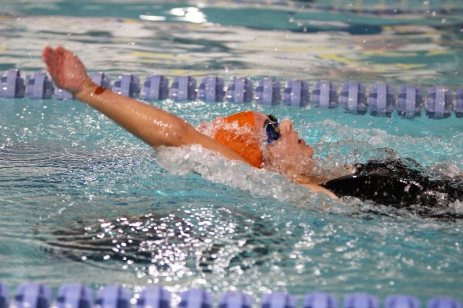 Women's swimming defeated Hazelwood West at Webster University on Dec. 5. This was its first win of the season with a final score of 131-37. Photo by Lindsey Bennett